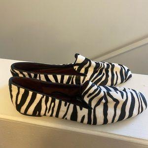 ZARA Zebra Calf Hair Flats Animal Print Loafers 41 11 NEW